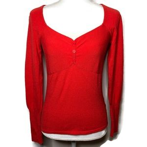 Nanette Lepore sweetheart  cashmere silk sweater S